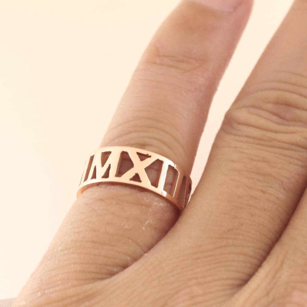Rose Golden Engagement Ring Roma format Custom Name Ring Men Silver 925 Personalized Ring for women