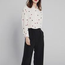 2019 Sunscreen Long Sleeve Polka Dot Shirt Fairy Shirt Turn-down Collar Polka Dot Chiffon Women Shirts Lace Blouse недорого