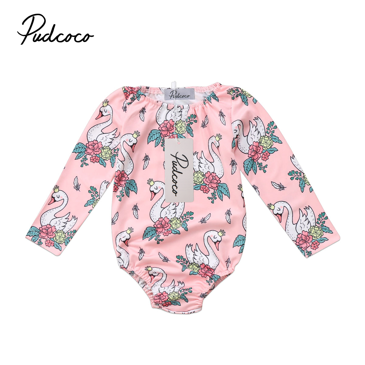 Pudcoco Newborn Baby Girls Swan Flower Long Sleeve Romper Cotton Jumpsuit Winter Toddler Girl Clothes iyeal newest 2018 princess newborn baby girl romper lace cotton long sleeve infant jumpsuit headband toddler outfits for 0 12m