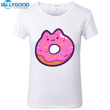 2017 New Arrival Summer Cute Cat Donut T-Shirts Funny Burger fries Milk Food series Cartoon Print Tops Women White T shirts S787