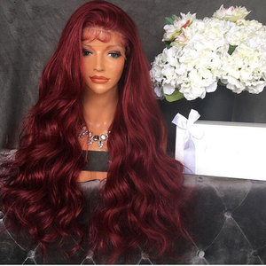 Image 2 - Bombshell Wine Red Body Wave Hand Tied Synthetic Lace Front Wig Heat Resistant Fiber Natural Hairline With Baby Hair For Women