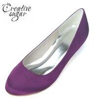Creativesugar Concise femme fermé orteil bas petit talon satin chaussures de mariée de noce banquet de soirée pompes blanc violet