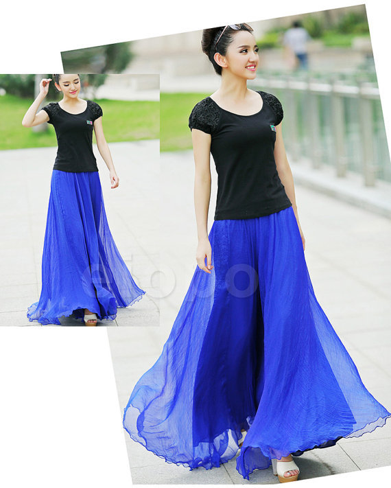 b627ceeff1fc7 Online Shop Royal Blue Long Chiffon Maxi Skirt Ladies Silk Chiffon Plus  Sizes Lightweight Sundress Holiday Beach Skirt