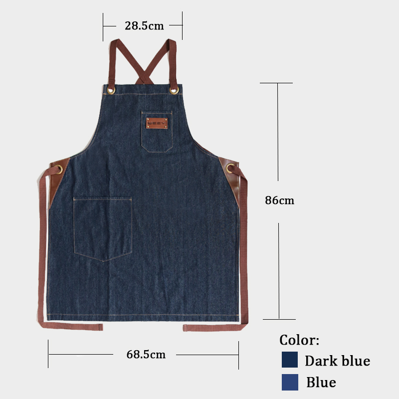 WEEYI Denim Lagon Kitchen Cooking Apron with Adjustable Cotton Strap Large Pockets Blue 34x27 Inches for Men and Women Homewear (1)