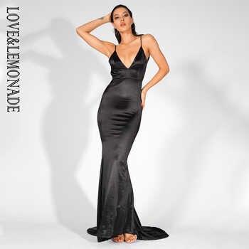 Love&Lemonade Deep V-Neck Open Back Slim Long Dress LM81222BLACK - DISCOUNT ITEM  10% OFF All Category
