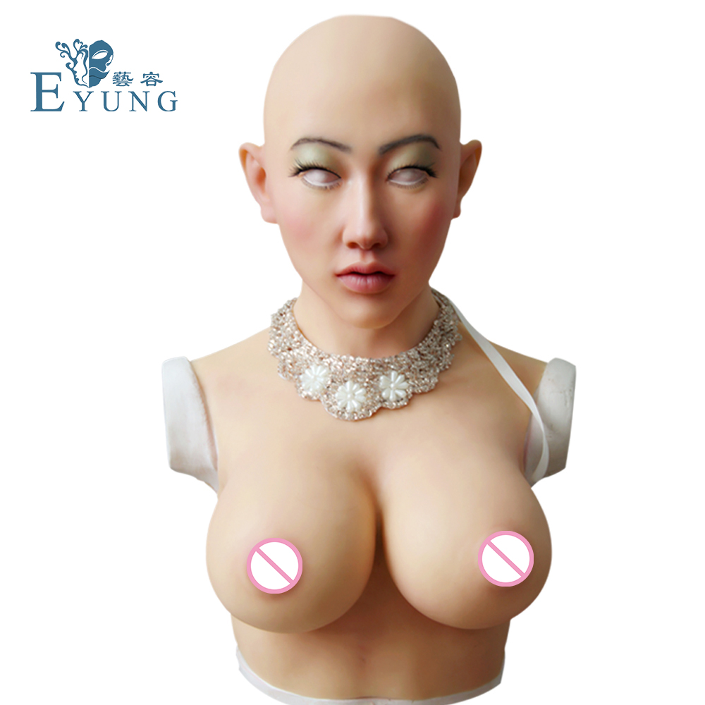 Shivell headwear with female boobs and goddess face artificial breast forms for crossdresser Halloween masquerade More feminine yr hc angela masquerade crossdresser silicone female boobs realistic goddess face for halloween feminine half body breasts tits