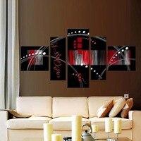 5 photos / Set Wall Art décoration Home Decor toile peinture peintures à la main decoracion rouge noir abstraite