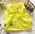 BibiCola 2016 children clothes girls jackets outerwear kids red yellow spring autumn coat baby girl christmas flower Windbreaker