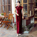 New Arrival Burgundy Chinese Female Velour Long Qipao Cheongsam Bride Wedding Party Dress Vestido De Festa Size S M L XL XXL