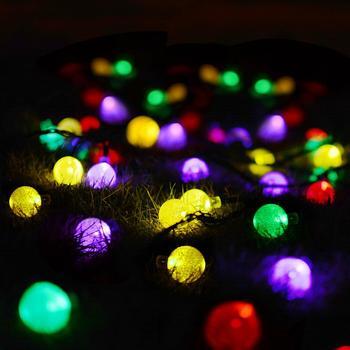 Cadena De Luz Solar DCOO 30 LED Bola De Cristal A Prueba De Agua Iluminación De Hadas Alimentada Por Energía Solar Para La Decoración De Vacaciones Del Paisaje Del Hogar Del Jardín
