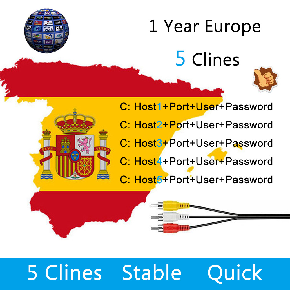 Europe 5 Lines Cccam Cline for 1 Year Spain/Germany TV For DVB-S/S2 Satellite Receiver V7 HD,V8 Super,IKS Receptor europe 5 lines cccam cline for 1 year spain germany tv for dvb s s2 satellite receiver v7 hd v8 super iks receptor