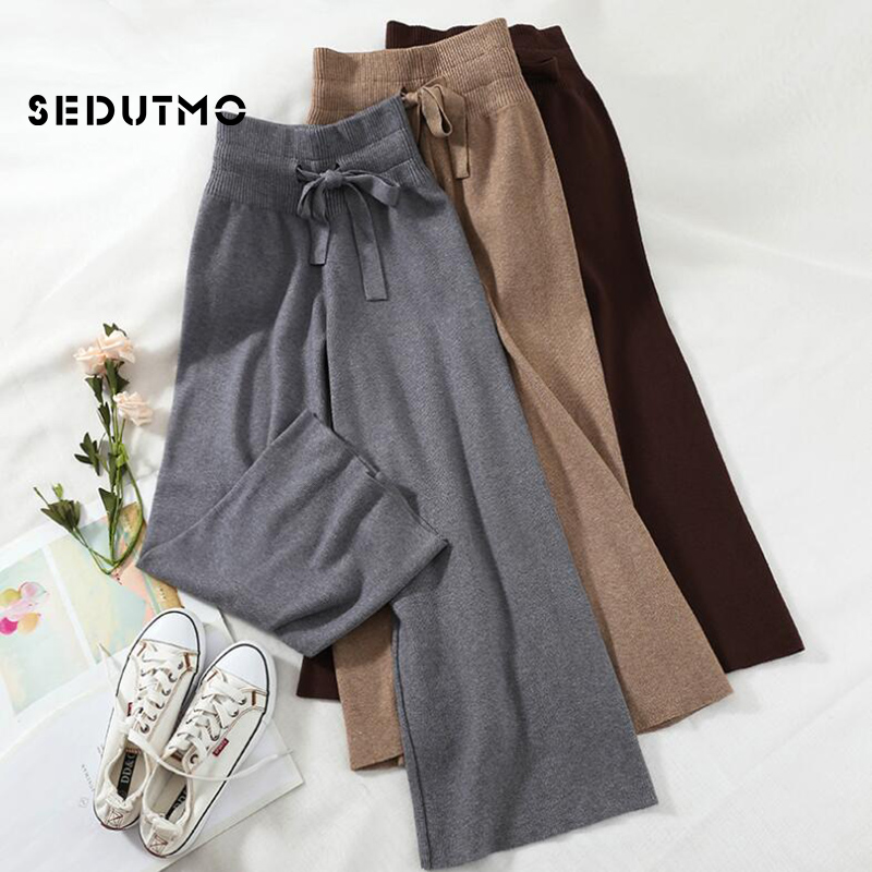 SEDUTMO Spring Knitted   Pants   Women High Waist   Wide     Leg     Pant   Elastic Trousers Loose Vintage Casual Streetwear Sweatpants ED639
