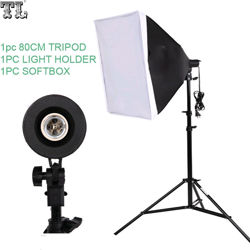 Prix pour Livraison gratuite numéro de suivi Photographie SoftBox Kit D'éclairage 50x70 cm Softbox 80 cm lampes Stand Photo Studio Accessoires ensemble