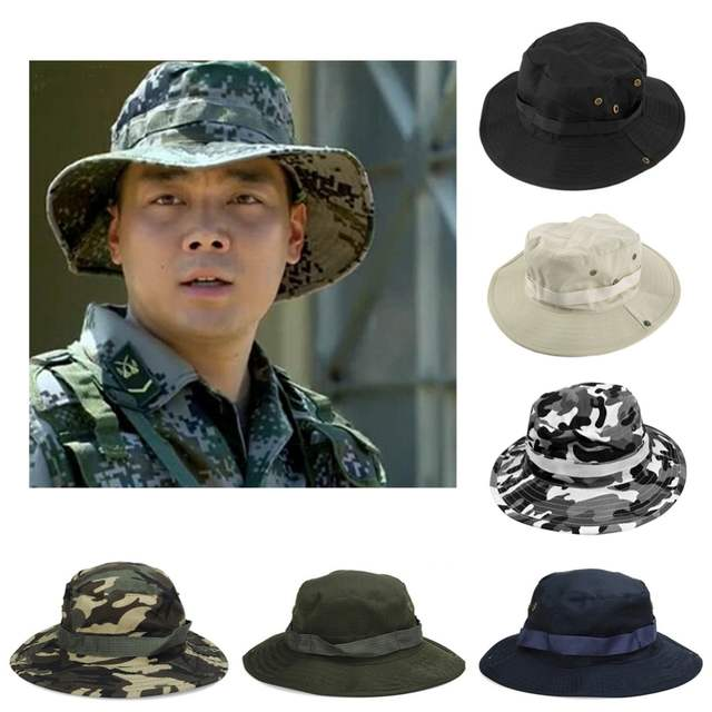 placeholder 1 Pc Summer Jungle Camouflage Boonie hat Fisherman cap bucket  hat military cap for men gorro 46fd89e115e