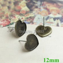 Пустые серьги 12 мм Сердце рамка лоток Кабошон серьги из латуни пост настройки результаты античный бронзовый тон
