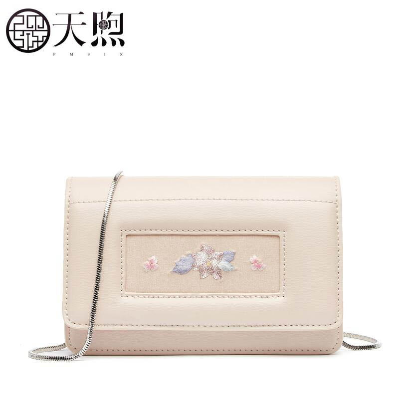 Pmsix 2019 new superior Cowhide Leather bag fashion embroidery leather women bag Luxury Simple chain shoulder messenger bagPmsix 2019 new superior Cowhide Leather bag fashion embroidery leather women bag Luxury Simple chain shoulder messenger bag
