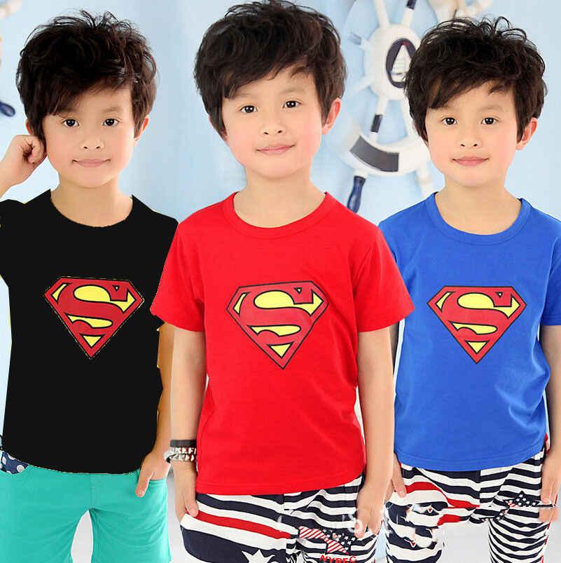 2018 coton enfant en bas âge garçons super-héros Costume t-shirts garçons été hauts à manches courtes mignon belle impression enfants t-shirts