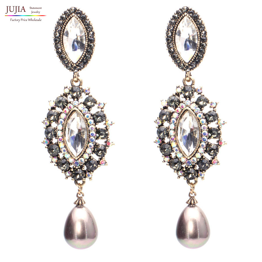 2 colors women pearl earrings 2017 fashion crystal ...