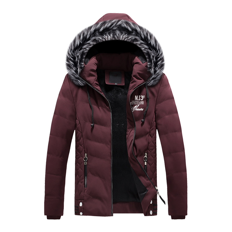 2019 Fashion High Street Winter Jacket Men Fur Collar Hooded Coat Simple Outwear Print Thick Warm Parka Casual Velvet Jacket Top in Down Jackets from Men 39 s Clothing