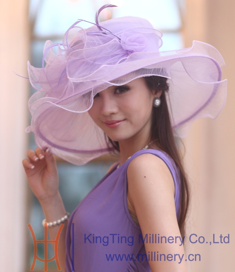 f29fe5cb400 Free Shipping Women Organza Hat Kentucky Derby Hat With Flower Wide Brim  Floppy Ruffle Wave Brim Elegant Fancy Hat For Women-in Fedoras from Apparel  ...