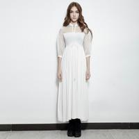 Гот небольшой стенд воротник шелковой вышивкой Половина рукава Королевский платье феи