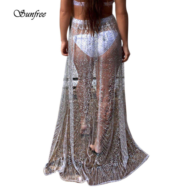 7722ea14ff Beach Cover Up Bikini Sequins Swimwear Coverup Sarong Wrap Pareo Skirt  Swimsuit Brand New High Quality #DT8650