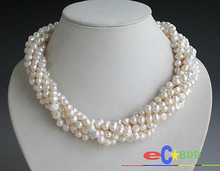 mujer Natural 6strands 6mm white baroque Freshwater cultured pearl necklace 43-45cm long Bridal Wedding word shipping Fine