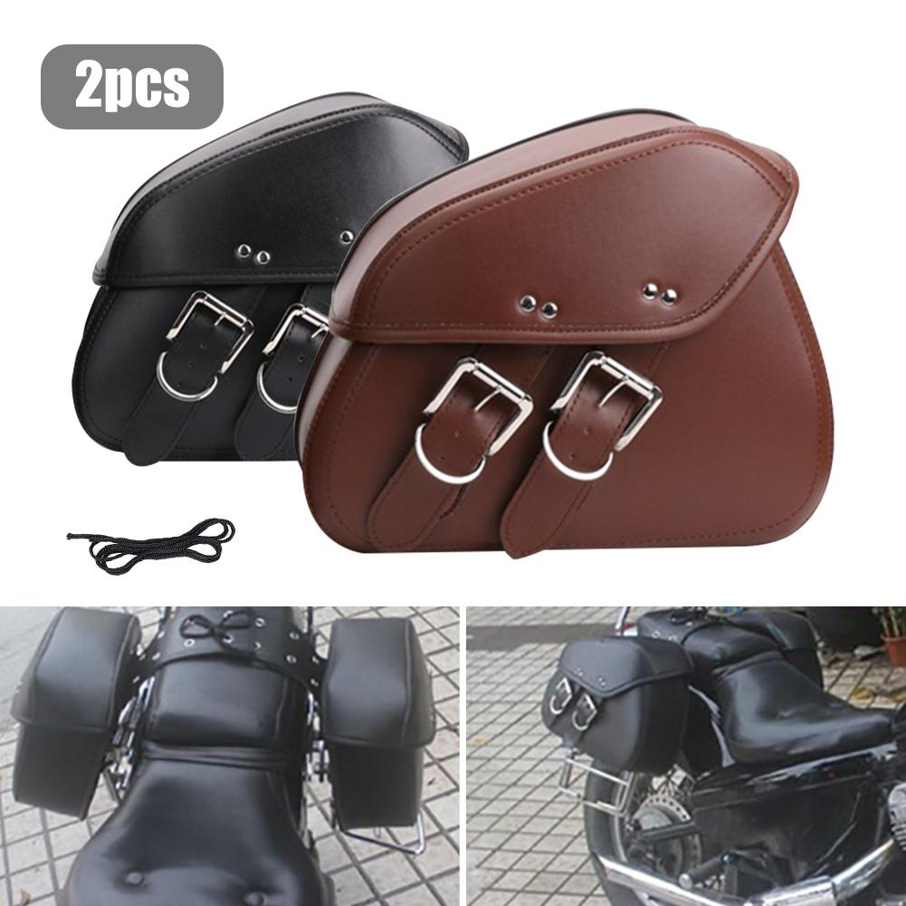 2pcs Universal Motorcycle PU Leather Bags For SEAT Cruiser Side Storage Tool Bags For 883 Sportster Softail