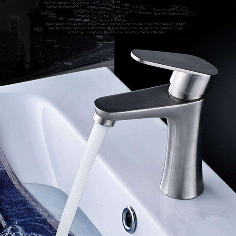 Brushed Surface 304 Stainless Steel Single Hole Faucet Bathroom Mixer Tap Basin Faucets Hot and Cold Water+2 pcs Hoses wall of the cold and hot water tap copper concealed washbasin single hole basin faucet stainless steel waterfall faucet lt 304 4