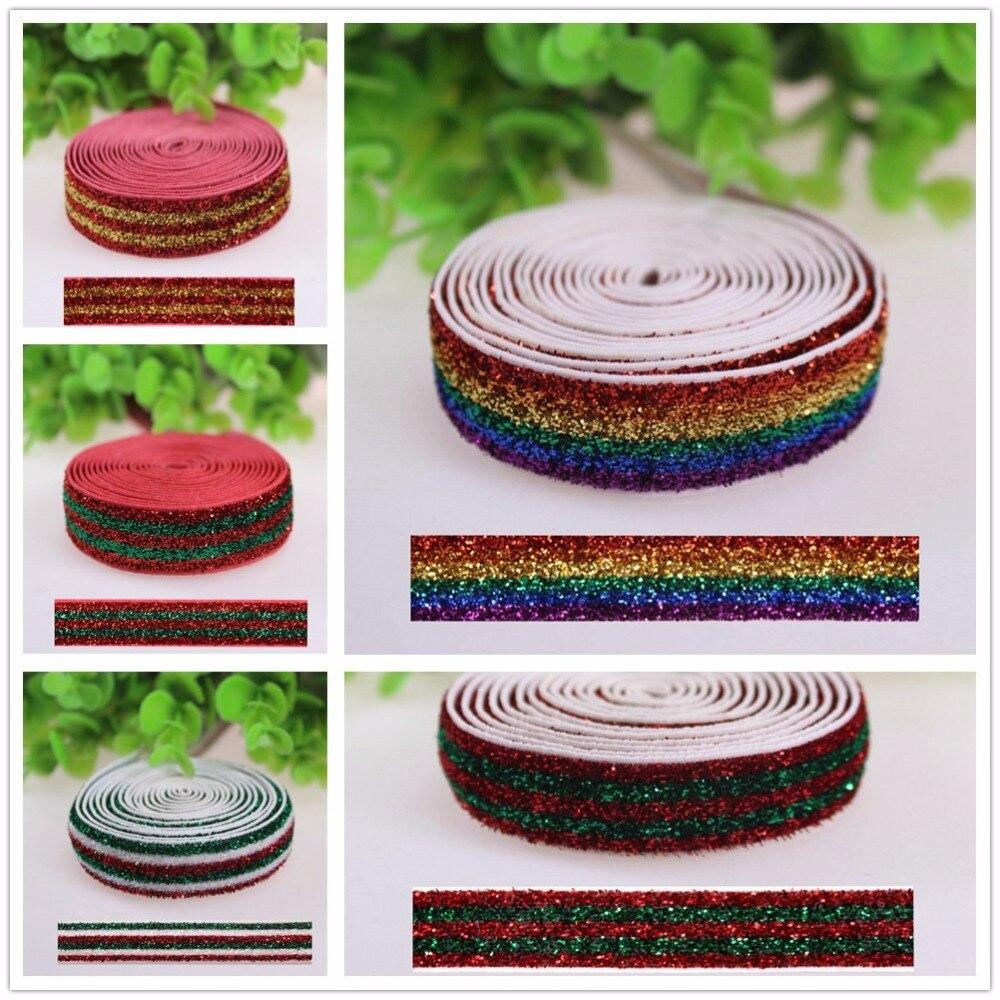 5/8 10 yards frosted glitter elastic Metallic Velvet Elastic for Hair Tie Headband Hair Bow