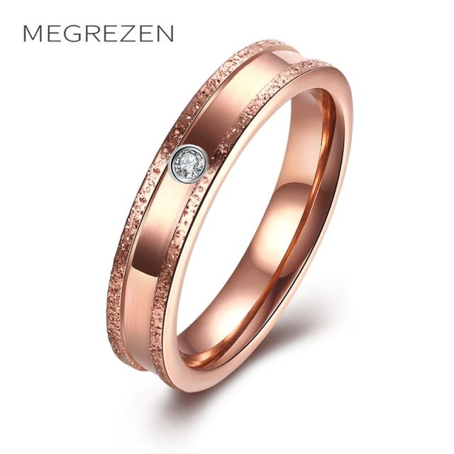 US $2 98 40% OFF|MEGREZEN Pink Gold Ring Stainless Steel Bijoux Women'S  Fashion Jewelry Rings Bague En Acier Inoxydable Pour Femme R131 4-in