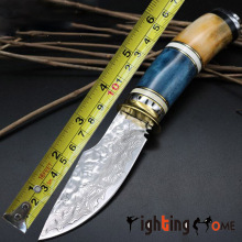 Fighting home Damascus steel knife 9CR18MOV camp tactical survival knife vintage processing rescue tool