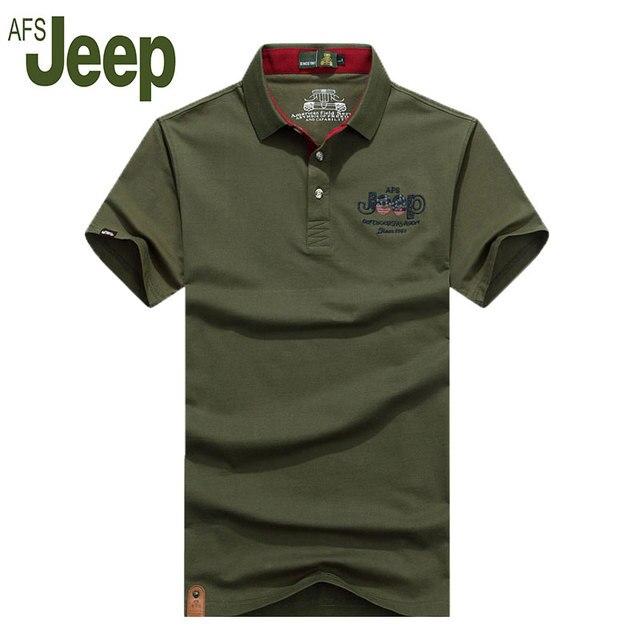2016 verano nueva AFS JEEP Battlefield Jeep solapa de manga corta polo camisa de los hombres de moda casual de manga corta camisa de polo 55