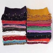 10 sztuk/partia Pearl Bubble szyfonowa damska hidżab szalik szal głowy Wrap muzułmańskie akcesoria zwykły jednolity kolor z złote perły