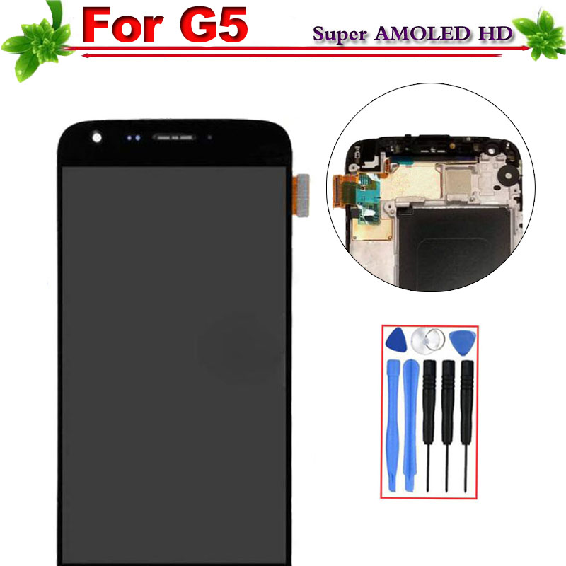 100% probado para LG G5 H850 H840 H860 con marco asamblea de pantalla táctil digitalizador para LG G5 pantalla LCD de reemplazo negro