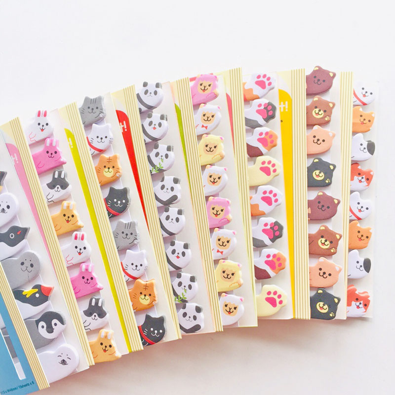 120 Pages Cute Kawaii Cartoon Animals Panda Cat Rabbit Memo Pads Sticky Notes School Office Supply Stationery Stick Marker