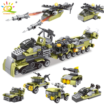HUIQIBAO TOYS 296PCS Military Series Army Weapon Helicopter Soldier Building Blocks Figures DIY Bricks For Kids Children