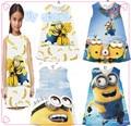 Retail 2016 New Minions New girls fashion cartoon yellow summer dress  kids dresses for girls High quality