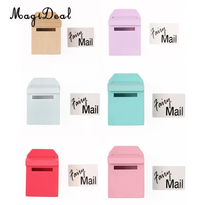 MagiDeal 1Pc 1/12 Scale Wooden Mailbox With Decal Dollhouse <font><b>Miniature</b></font> for Fairy Garden Door Decor Kids Furniture Toys 6 Colors image