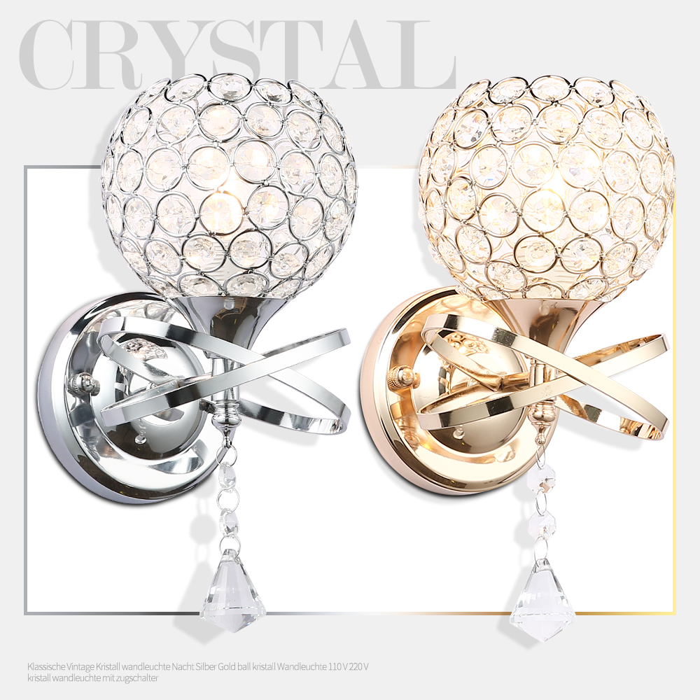 Gold Ball Wall Lights : Classic wall light modern bedside silver gold ball crystal modern wall lamp 110V 220V wall ...