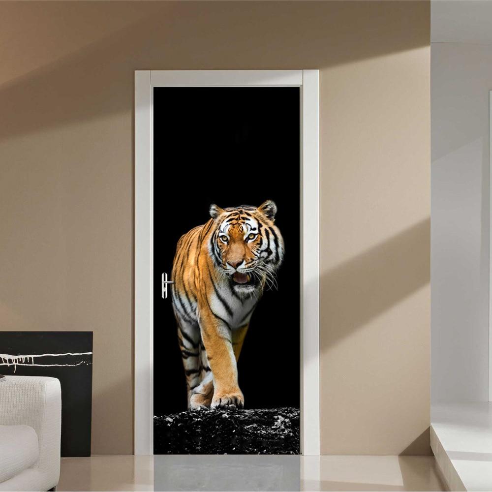 Wooden Door Renovation 3D Wall Sticker Pvc Removeble Wallpaper On Door Fierce Tiger Go Out Dark Partternfor Home Decor DM030