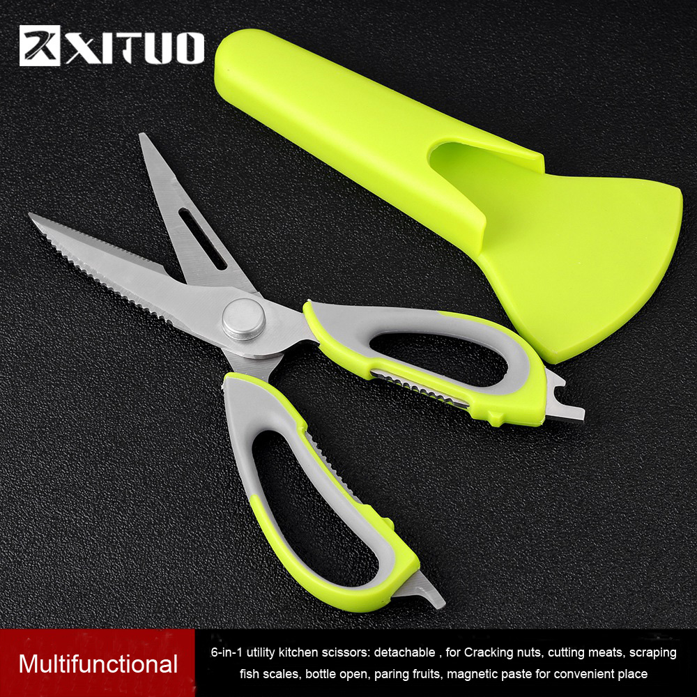 XITUO 7 In 1 Kitchen Scissors Magnetic Knife Seat Removable Stainless Steel Scissors For Fish Chicken Cutter Shears Cooking New|Kitchen Knives| - AliExpress