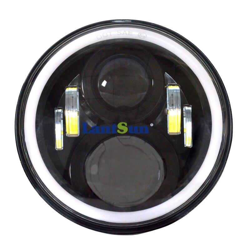 7 дюймов черный круглый 50 Вт светодио дный проектор фары Здравствуйте/LO луч H4/H13 адаптер поворотник DRL Halo Кольцо Ангел глаз lantsun