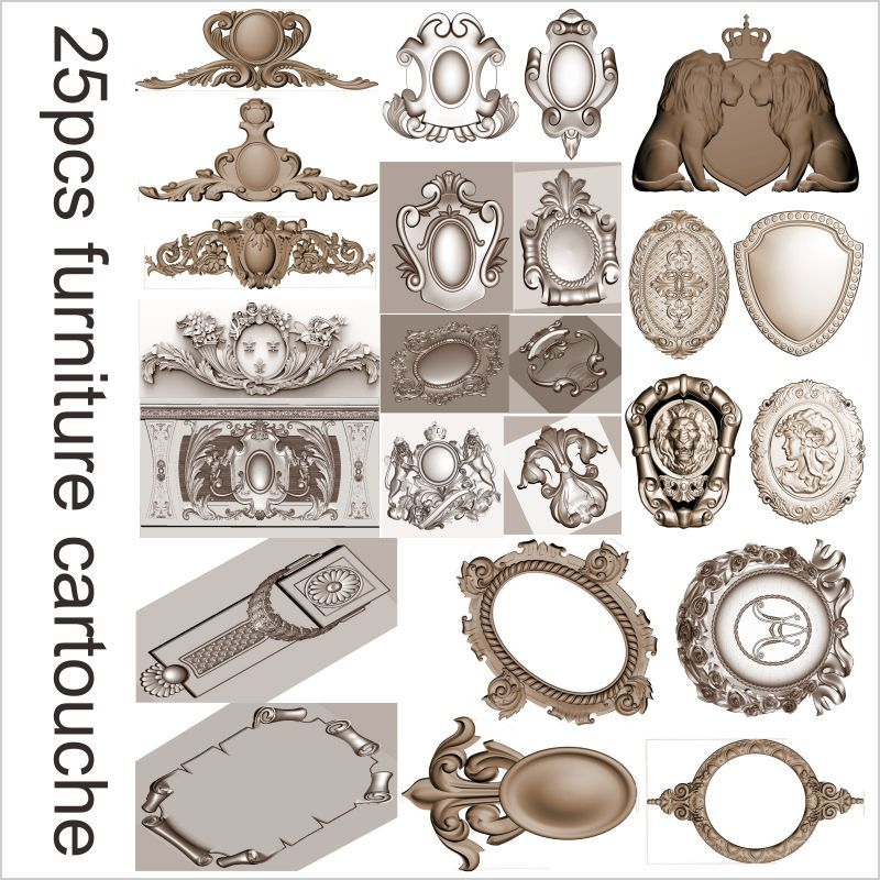 25pcs furniture cartouche 3d model STL relief for cnc STL format cartouche 3d model for cnc stl relief artcam vectric aspire dog in reed 3d model stl relief for cnc stl format furniture dog 3d stl format furniture decoration