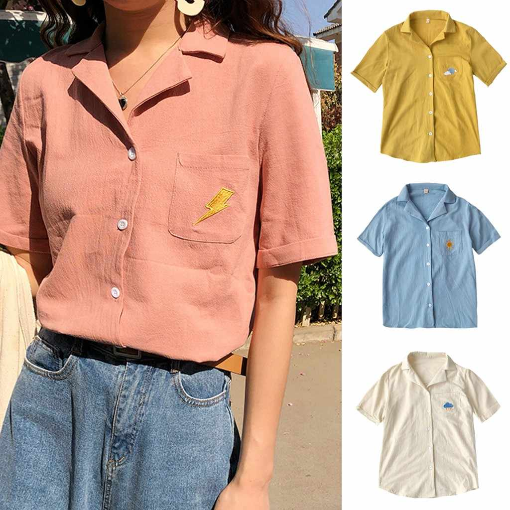 MUQGEW Fashion Women Kawaii Top Lapel Female Summer Shirt Weather Embroidery pocket Short Sleeve Loose Blouse Streetwear 2019