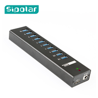 Sipolar Metal 10 ports usb 3.0 hub with external power adapter usb charger 2.4A hub usb charging station for pc phone laptop