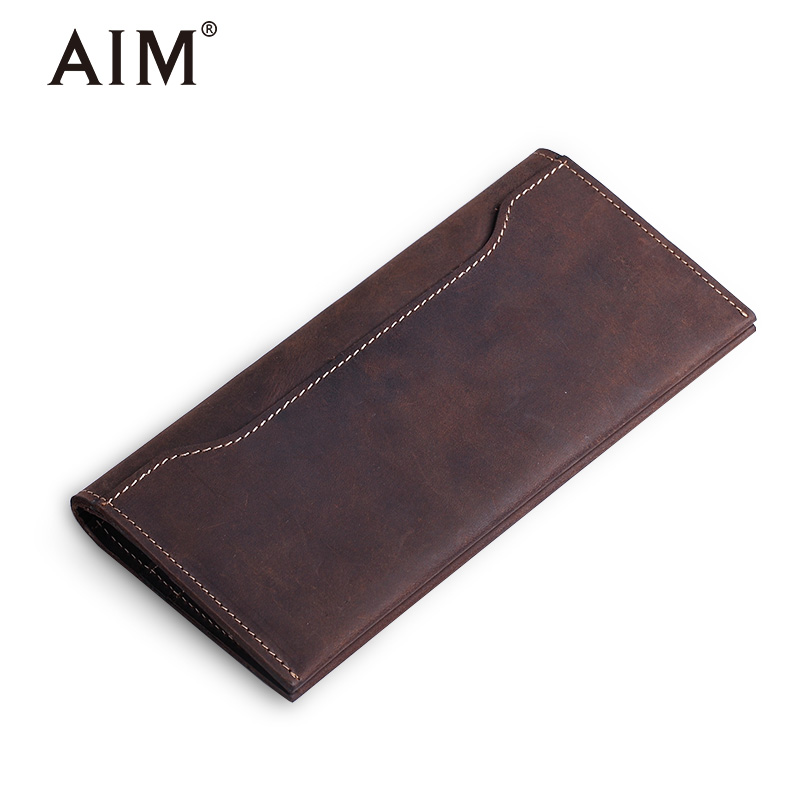 AIM Crazy Horse Leather Wallet Men Vintage Genuine Cow Leather Long Wallets Male Card Holder Coin Purse Famous Brand Design A331 aim men short wallets 100% genuine cow leather wallet men famous brand knitting design card holder men s biford coin purse a293