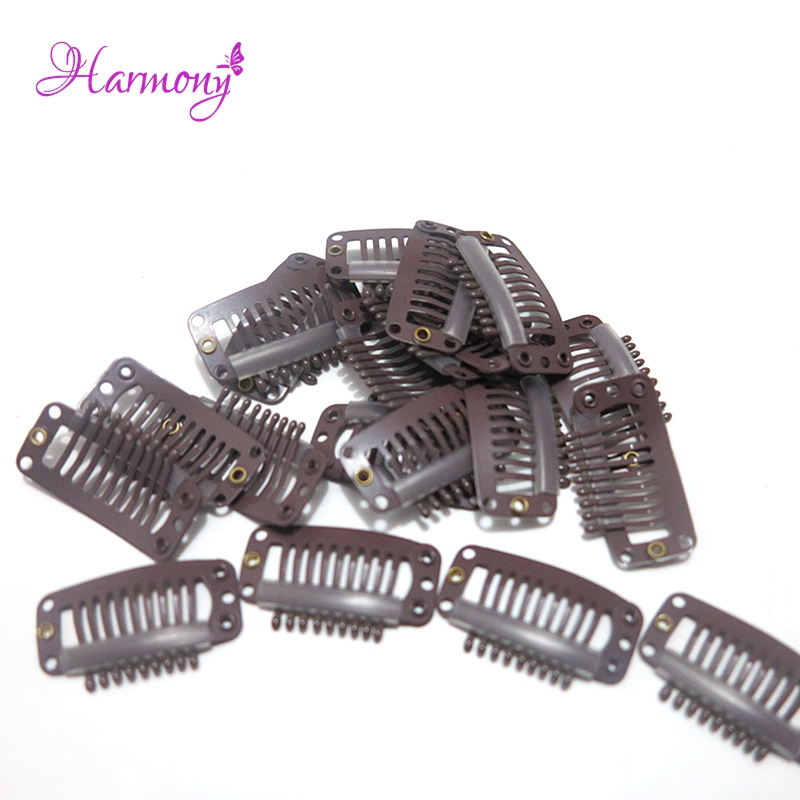 100 pieces/lot 32mm 9-teeth Hair Extension Clips Snap Metal Clips With Silicone Back For Clip in Human Hair Extensions Wig Comb