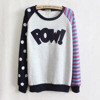 WoMen Polka Dot Long Sleeve Hoodies Mixed Colors Stripes Korea WoMen Cashmere Sweatshirts Wholesale 9064