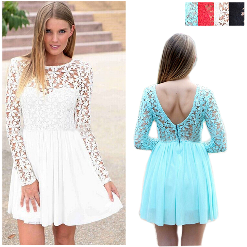 White Lace Cocktail Dress With Sleeves